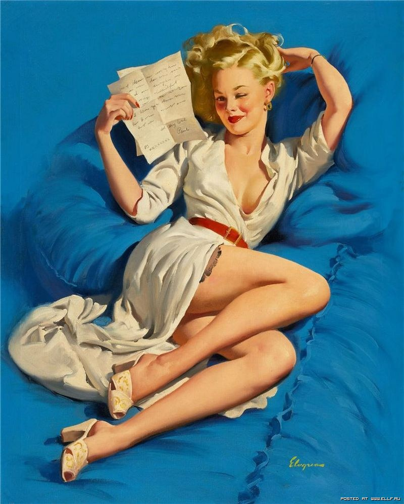pin up leyendo cartas